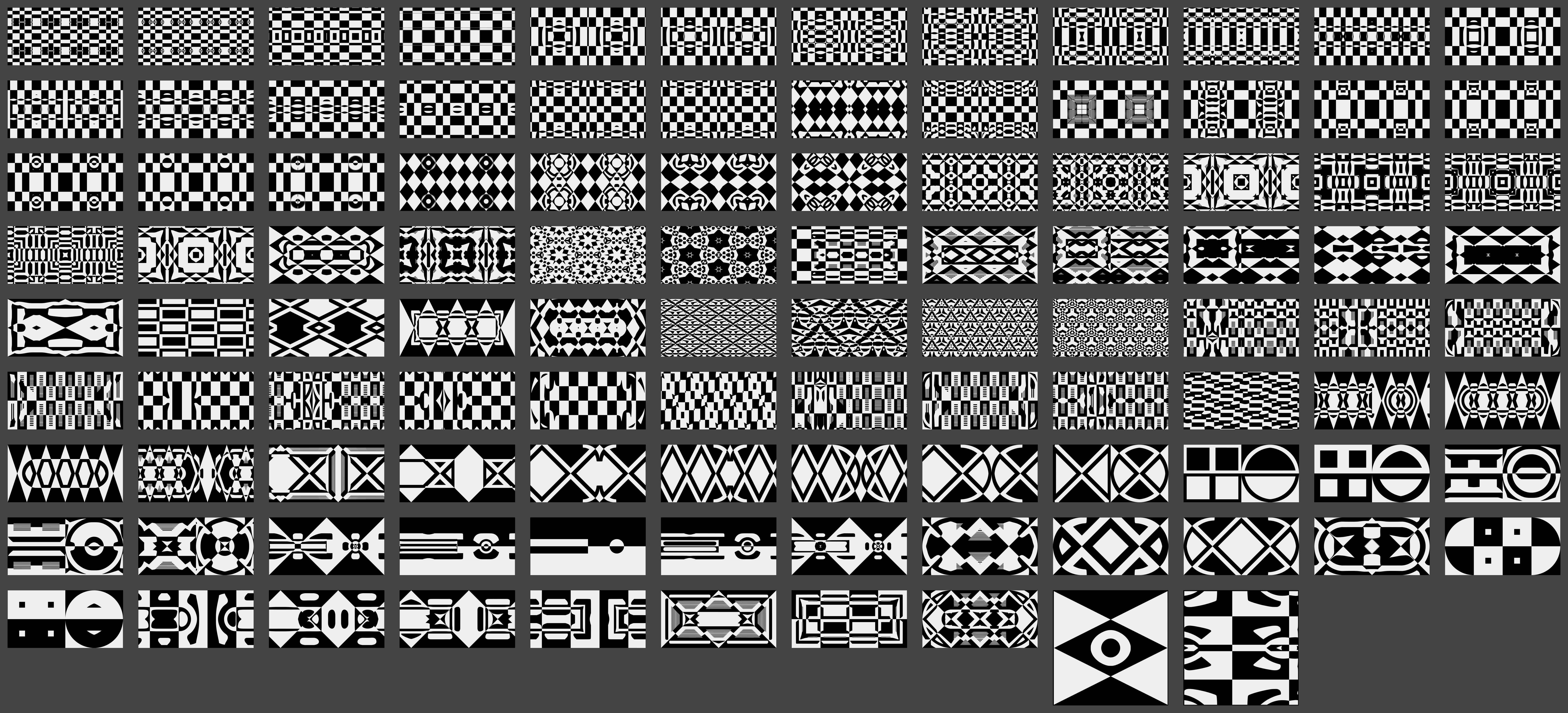 Contact sheet for work 00098 106 geometric patterns from